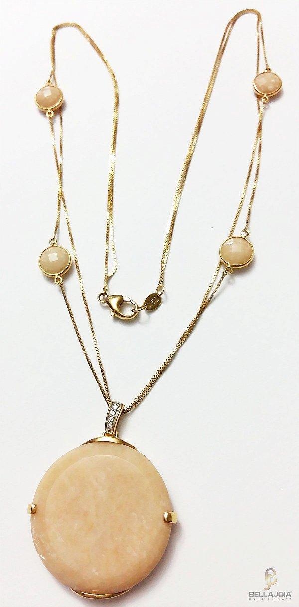 Gargantilha Quartzo Nude Diamantes Ouro 18k L 86