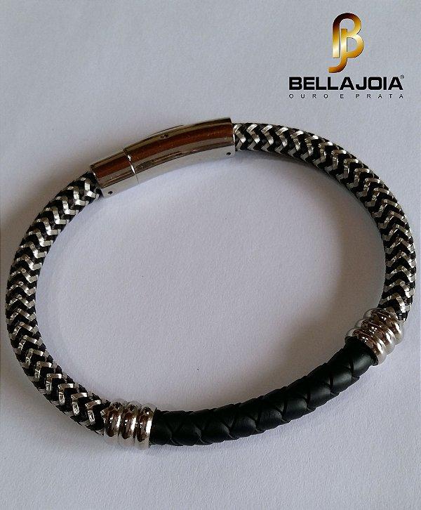 Pulseira Bracelete Prata 925 Rosa Leal VD 345 DC
