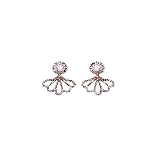Brincos Prata Ear Jacket Zircônia Rosa e Branca VD 124
