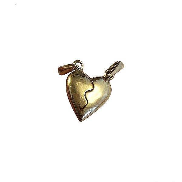 Pingente Ouro Coração Cara Metade L 10.5