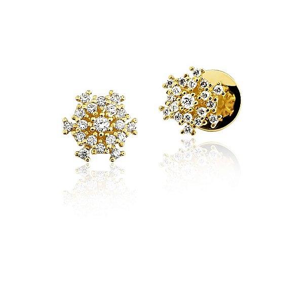 Brincos Ouro 18k Amarelo Clássico Diamante L 47