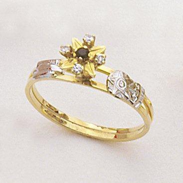 Anel Ouro 18k Amarelo Formatura Estrela Pedra Sintética Ref 20.433.77 L 13.9