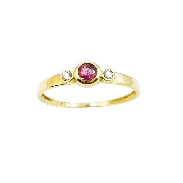 Anel Ouro Turmalina Rosa 2 Diamantes L 16