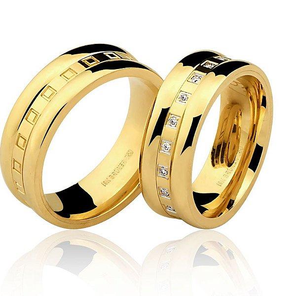 Aliança Ouro 18K Feminina Com Diamante 76.0236.2016