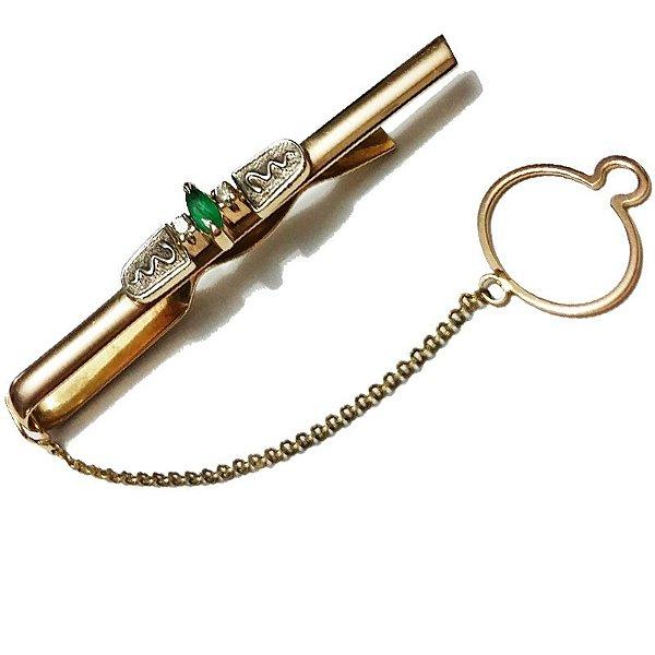 Prendedor de Gravata Ouro Esmeralda Símbolo L 35