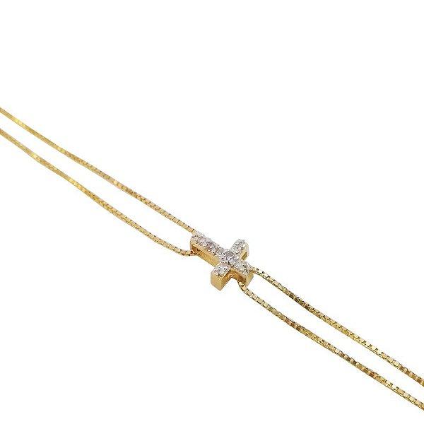 Pulseira Ouro Amarelo 18k Dupla com Cruz Diamante L 16.8