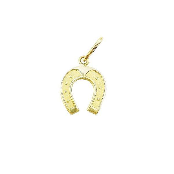 Pingente Ouro Amarelo 18k Ferradura L 2.5