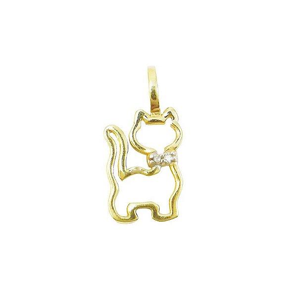 Pingente Ouro 18k Gatinho Vazado Diamante L 4.5