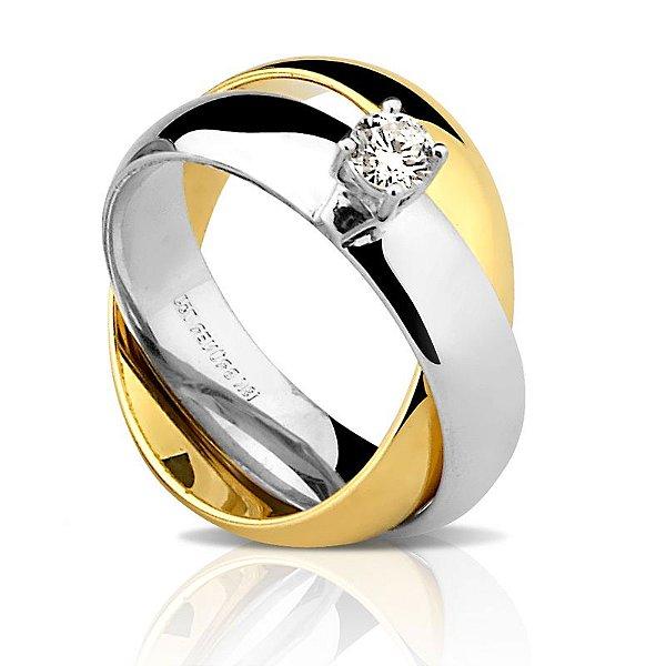 Aliança Ouro 18K Feminina Diamante Solitário