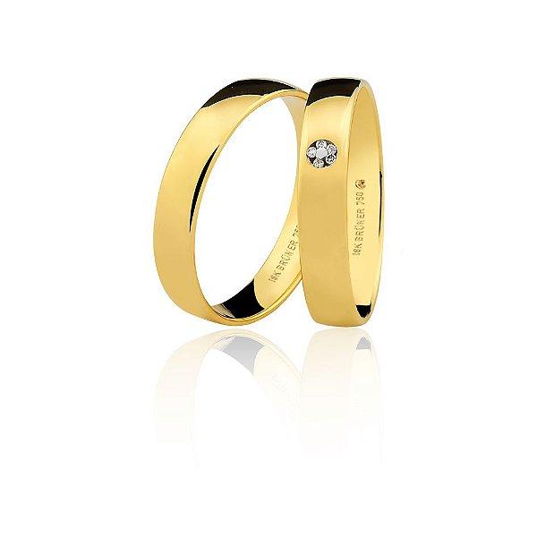 Par Alianças Ouro Amarelo 18k Ref  75.0316.2000 e 76.0316.2002