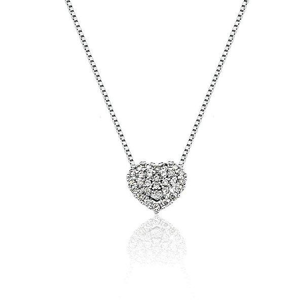 Gargantilha Ouro 18K Branco Clássica Coração Diamante L 23.7