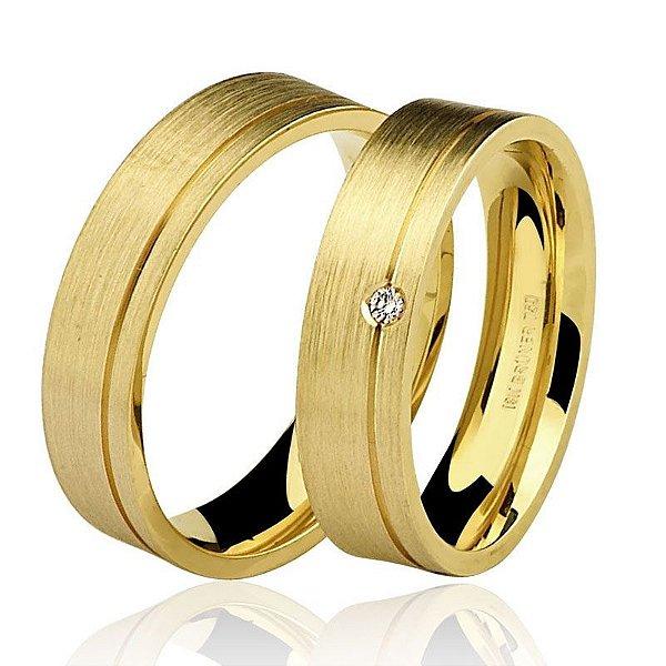 c292be67c62f1 Par Aliança Ouro 18k Amarelo Escovado com Diamante
