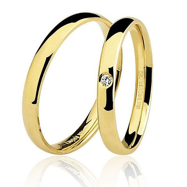 Par Aliança Ouro 18k Amarelo Tradicional com Diamante na Feminina