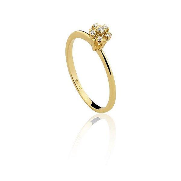 Anel Chuveirinho Delicado Ouro 18k Diamante L 14.5