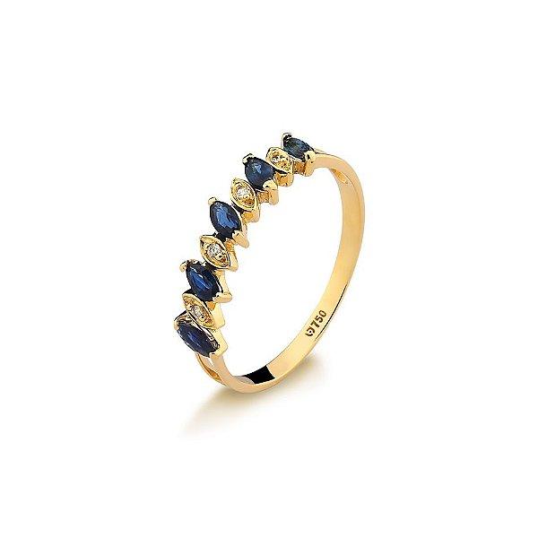 Anel Meia Aliança Ouro 18k Safira Azul Navete L 15.9