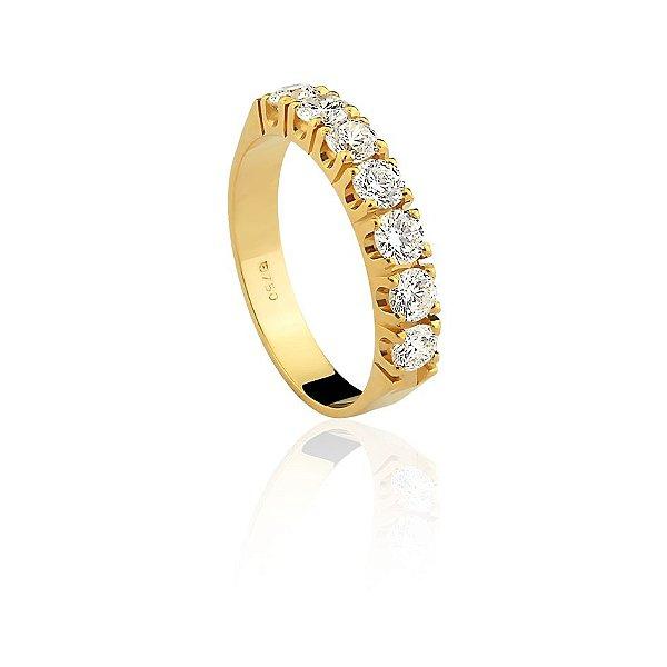 Anel Meia Aliança Ouro Amarelo 18k Diamante 91 Pontos L 172