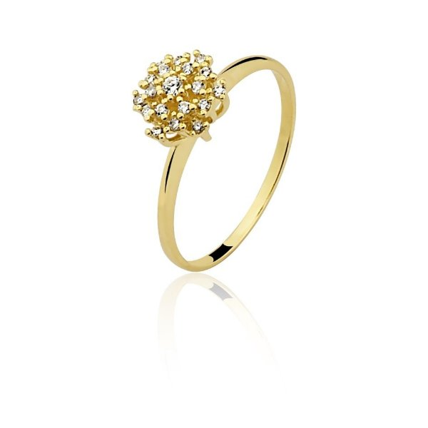 Anel Ouro 18k amarelo Clássico diamante L 28.9