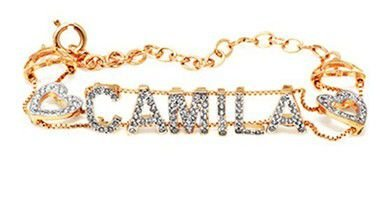 Pulseira Personalizada Camila Cravejada em Prata Banho de Ouro VD 263