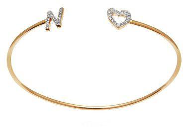 Pulseira Letra N e Coração em Prata com Banho de ouro VD 128