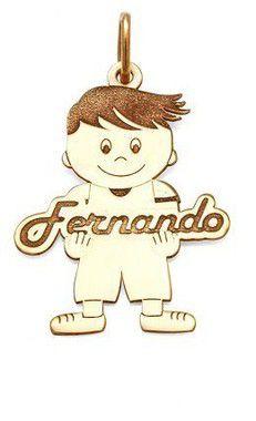 Pingente Menino Personalizado em Prata com Banho de Ouro Fernando VD 67