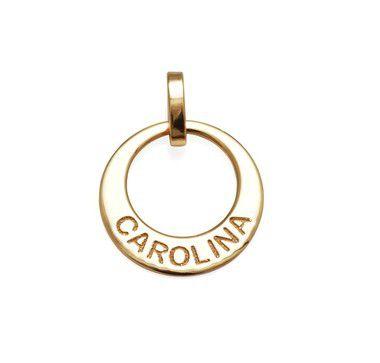 Pingente 1 Elo Personalizado Carolina em Prata Banho de Ouro VD 53