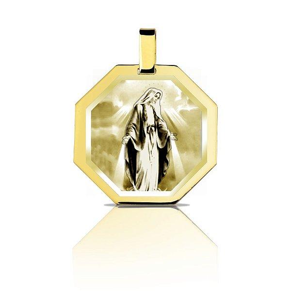Pingente Ouro 18k  Octogonal Fotogravado L 11.8