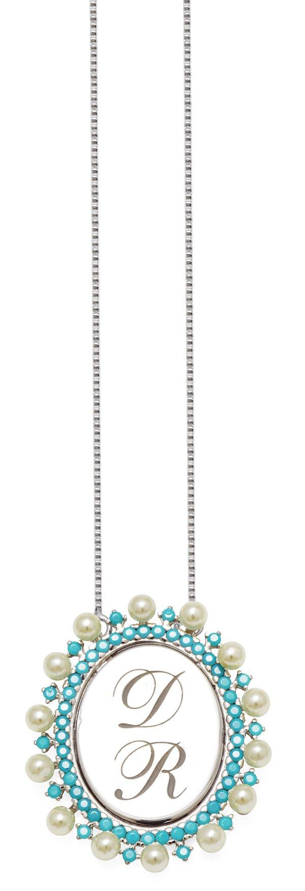 Gargantilha Prata Cravejada Turquesa e Perola Personalizada até 3 Letras VD 205