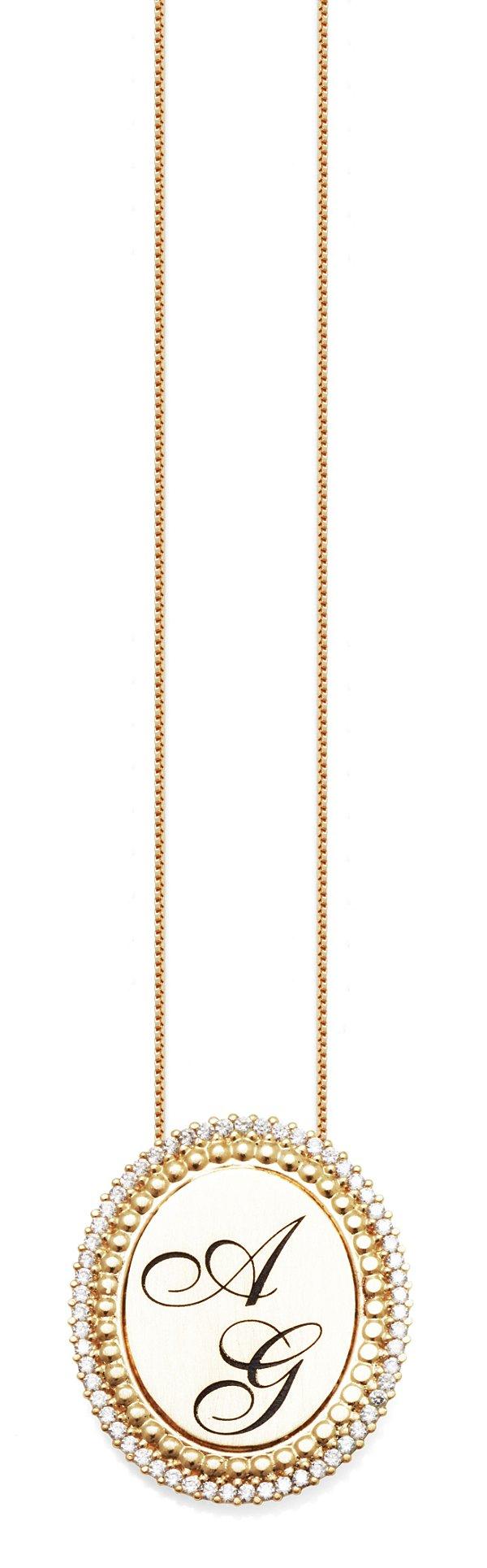 Gargantilha Prata Banho de Ouro Personalizada até 3 Letras Borda Zircônia Branca VD 195