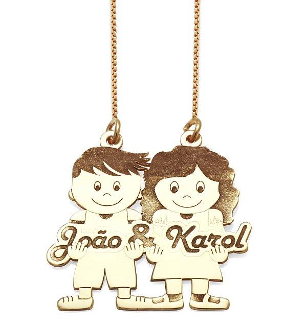 Gargantilha Casal Personalizado João e Karol em Prata com Banho de Ouro VD 137