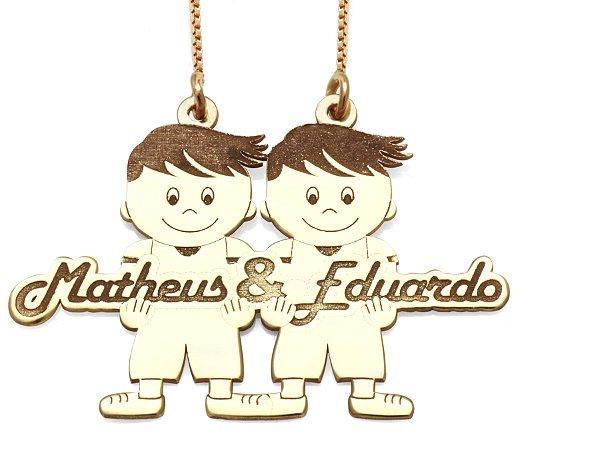 Gargantilha 2 Meninos Personalizados Matheus e Eduardo em Prata com Banho de Ouro VD 137
