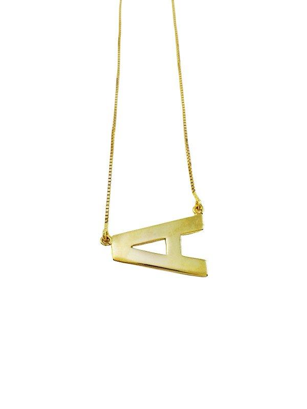 Gargantilha Ouro18k Personalizada com Inicial A - L 10.5