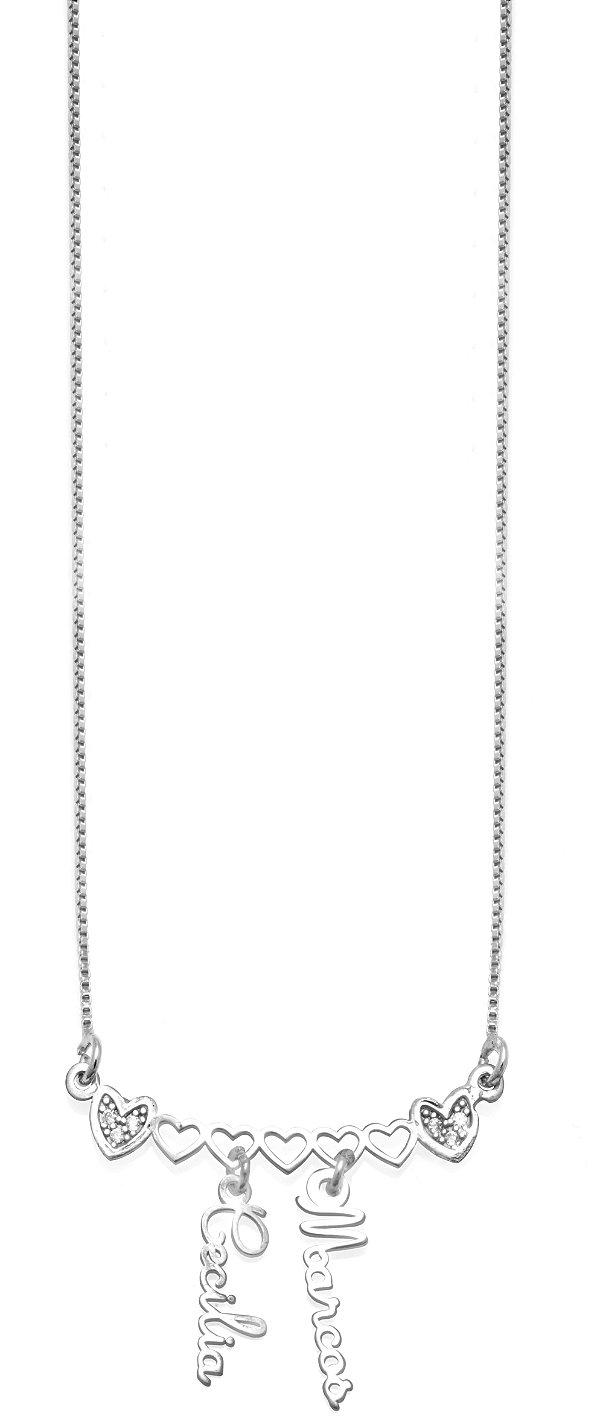 Gargantilha Corações com 2 Nomes Pendurados em prata Marcos e Cecilia 925 VD 115