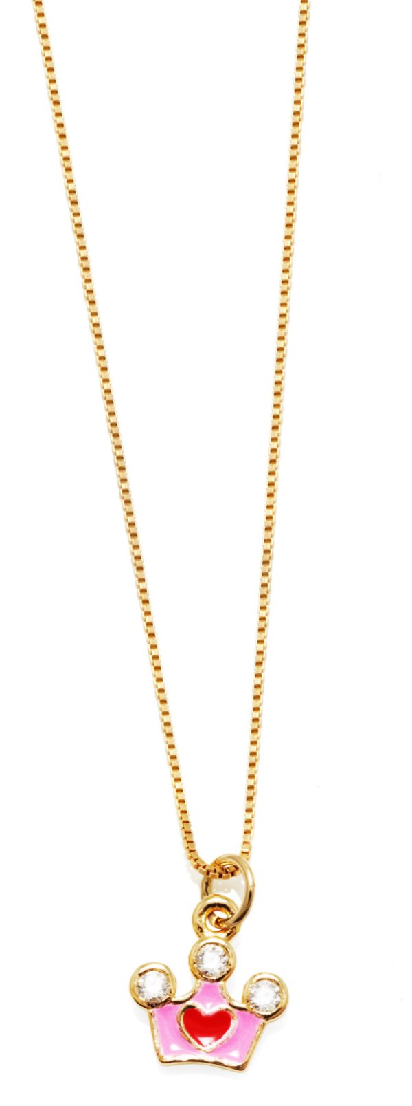 Gargantilha Infantil Coroa Prata Banho de Ouro VD 49.5