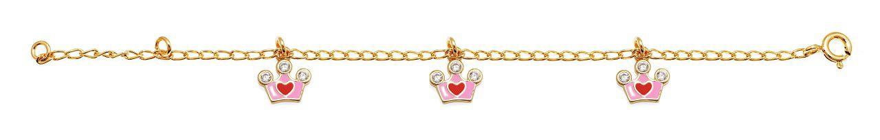 Pulseira Infantil Coroa Prata com Banho de Ouro VD 49.5