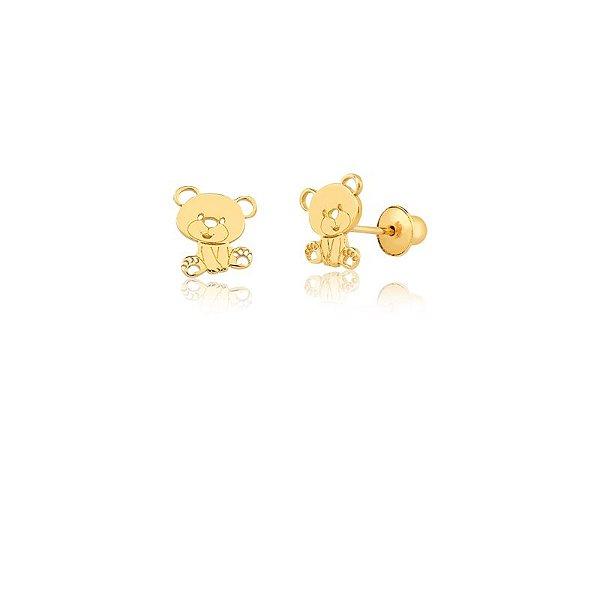 Brincos Ouro 18k Urso Vazado L 2.6