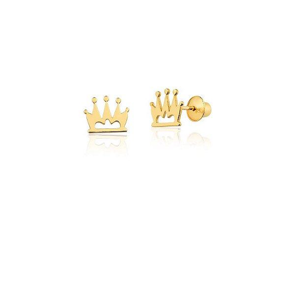 Brincos Ouro 18k Coroa Vazada L 2.3