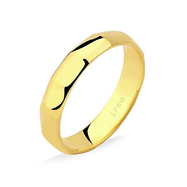 Aliança Ouro Amarelo 18k Detalhada M70 L 14.6