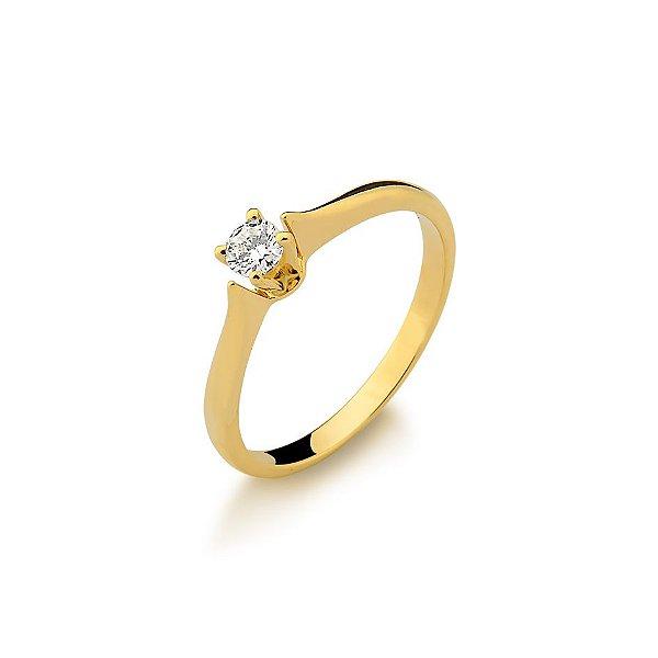 Anel Ouro Amarelo 18k Solitário Diamante 20 Pontos L 56