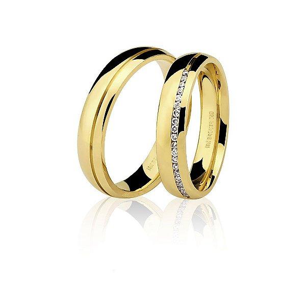 Par alianças Ouro Amarelo 18k Ref 75.0190.2000 e 76.0190.2014