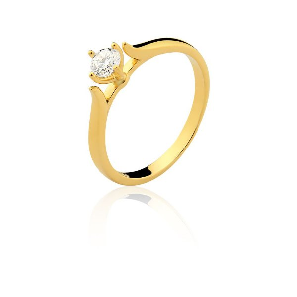 Anel Ouro Amarelo 18k Solitário Diamante 30 Pontos L 102