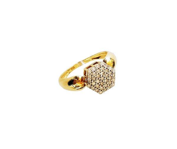 Anel Ouro amarelo 18k Chuveiro Baixo Sextavado Diamante L 30.2