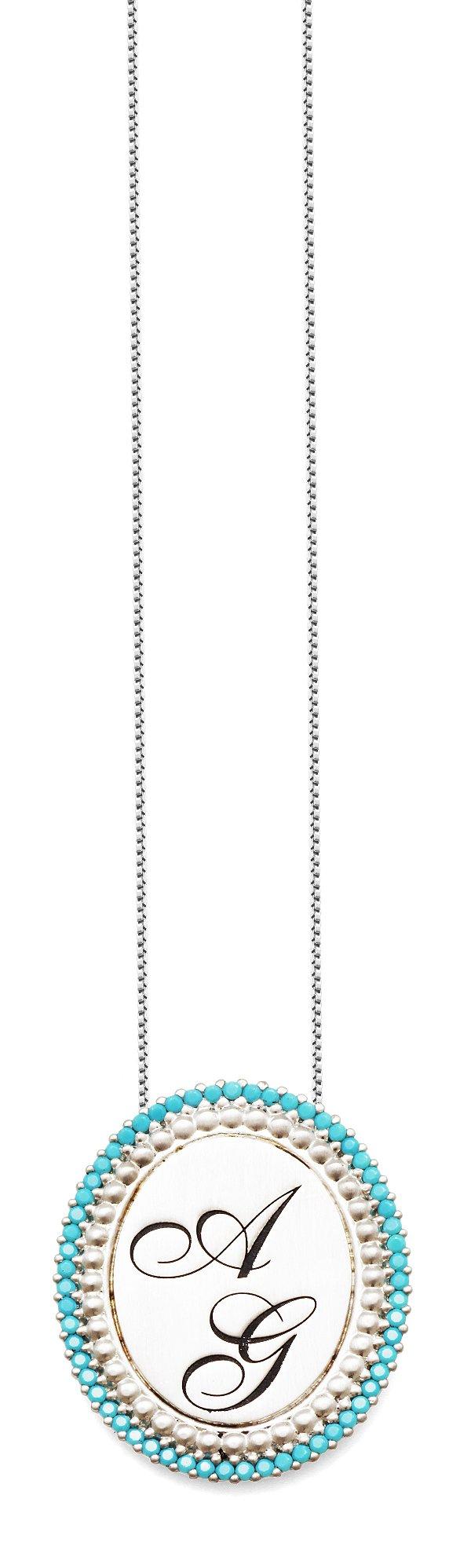 Gargantilha Prata 925 Personalizada até 3 Letras Borda Turquesa Redonda VD 195