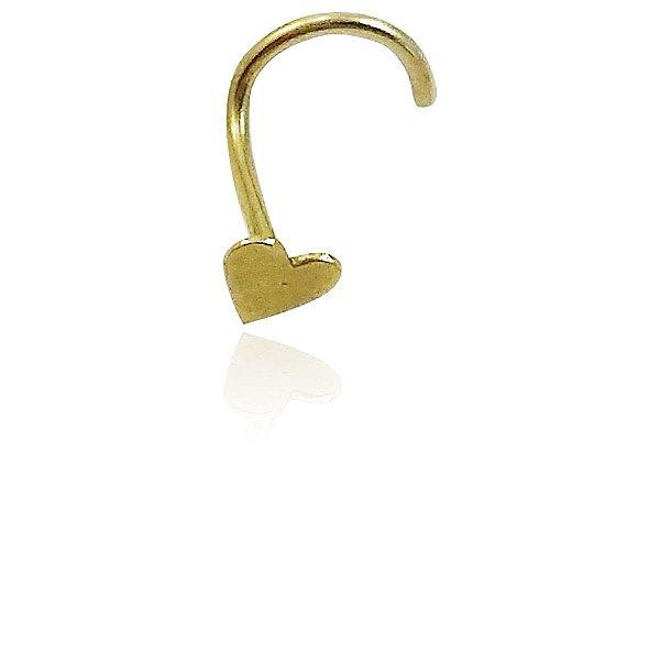 Piercing Nariz Coração Ouro Amarelo 18k L 2.5