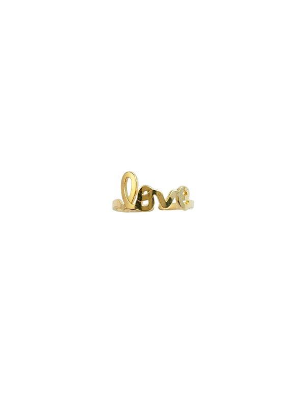 Anel Love Regulável Prata Banho de Ouro VD 34