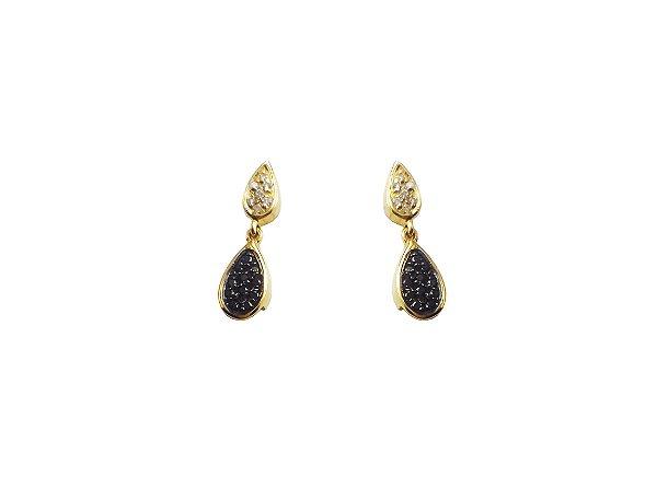 Brincos Ouro 18k Diamante Branco e Negro L 25