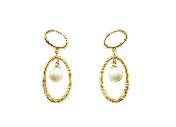 Brincos Ouro 18k Aros Médios com Diamantes e Pérola Pendente L 42