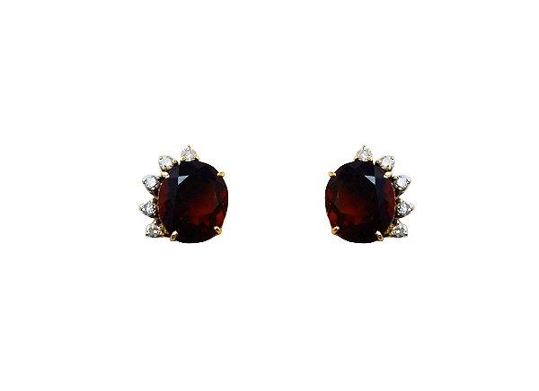Brincos Ouro Amarelo 18k Granada e Diamante L 34.8