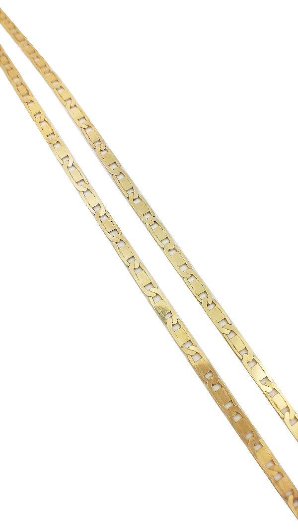 Corrente Piastrine Larga Ouro Amarelo 18k L 49.2