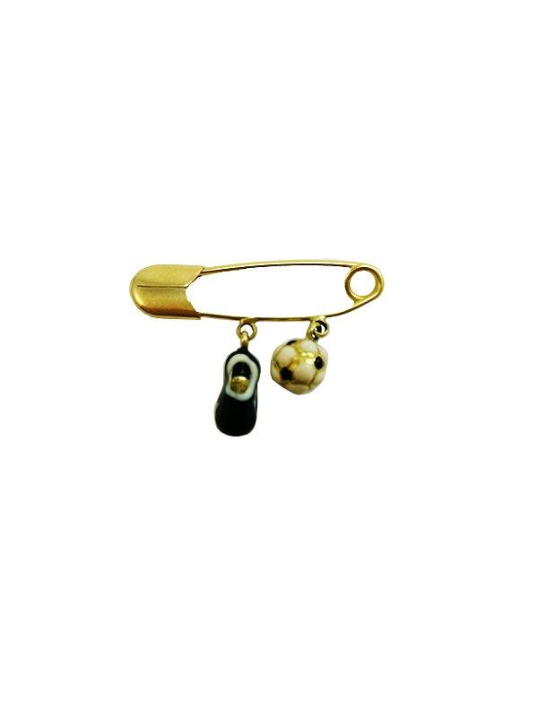 Broche Infantil Ouro Amarelo 18k com Chuteira e Bola L 8
