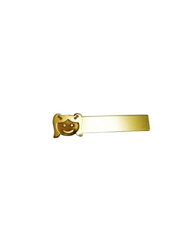 Broche Infantil Plaquinha Menina Ouro Amarelo 18k L 4.2